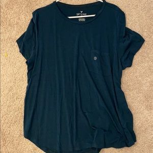 American Eagle teal striped tshirt new with tags!
